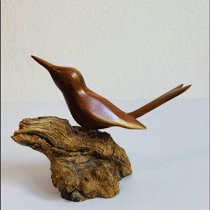 MCM Carved Wood Bird on Driftwood